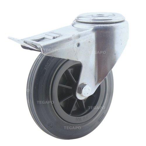 Zwenkwiel rubber 160 3KO boutgat met rem