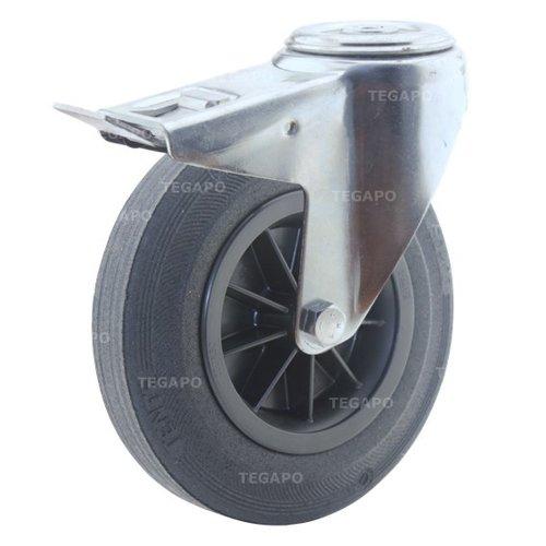 Zwenkwiel rubber 200 3KO boutgat met rem