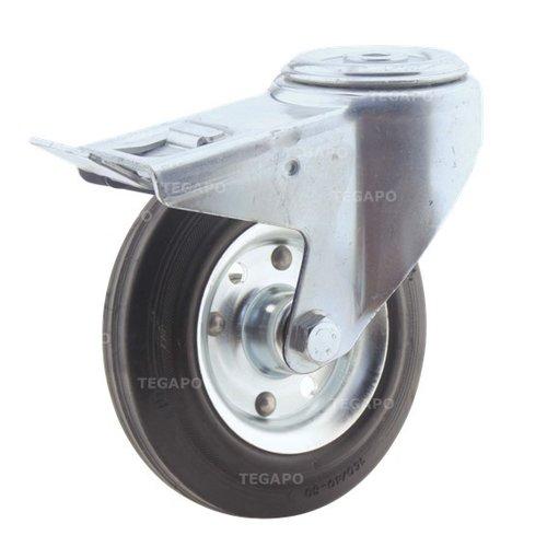 Zwenkwiel rubber 160 3SO boutgat met rem