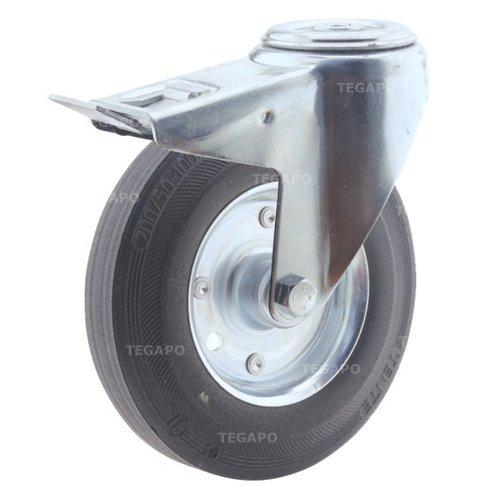 Zwenkwiel rubber 200 3SO boutgat met rem