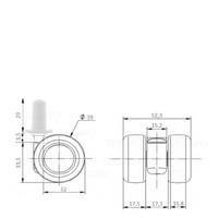 PATPLOW wiel 39mm plug rond kunststof 13mm