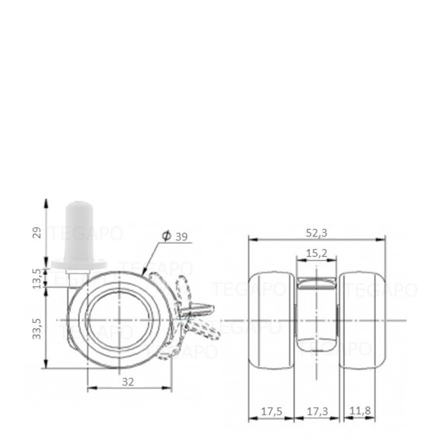 PATPLOW wiel 39mm plug 13mm met rem