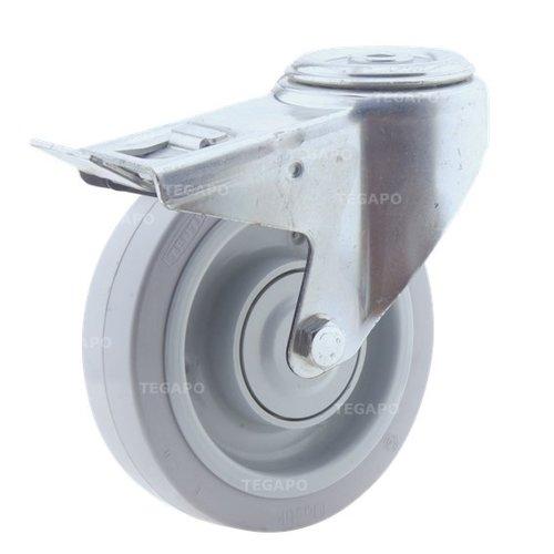 Zwenkwiel elastisch rubber 160 3KO boutgat met rem
