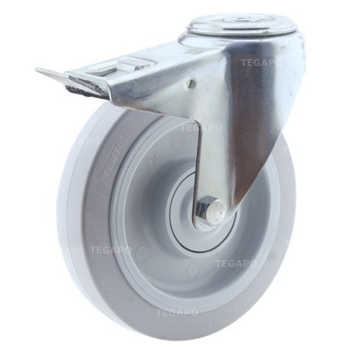 Zwenkwiel elastisch rubber 200 3KO boutgat met rem