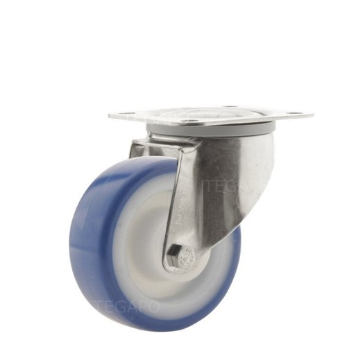 Zwenkwiel RVS 80 nylon NOC blauw plaatbevestiging