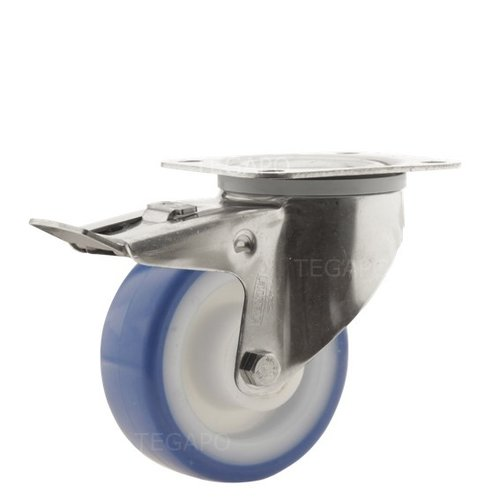 Zwenkwiel RVS 80 nylon NOC blauw plaatbevestiging met rem