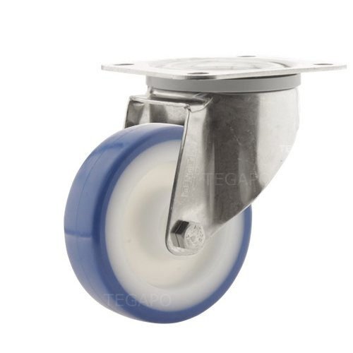 Zwenkwiel RVS 100 nylon NOC blauw plaatbevestiging
