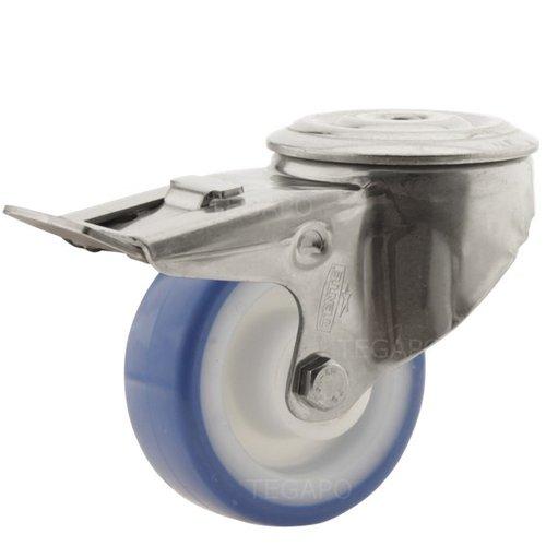 Zwenkwiel RVS 80 nylon NOC blauw boutgat met rem