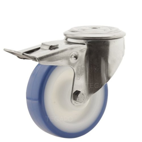 Zwenkwiel RVS 100 nylon NOC blauw boutgat met rem