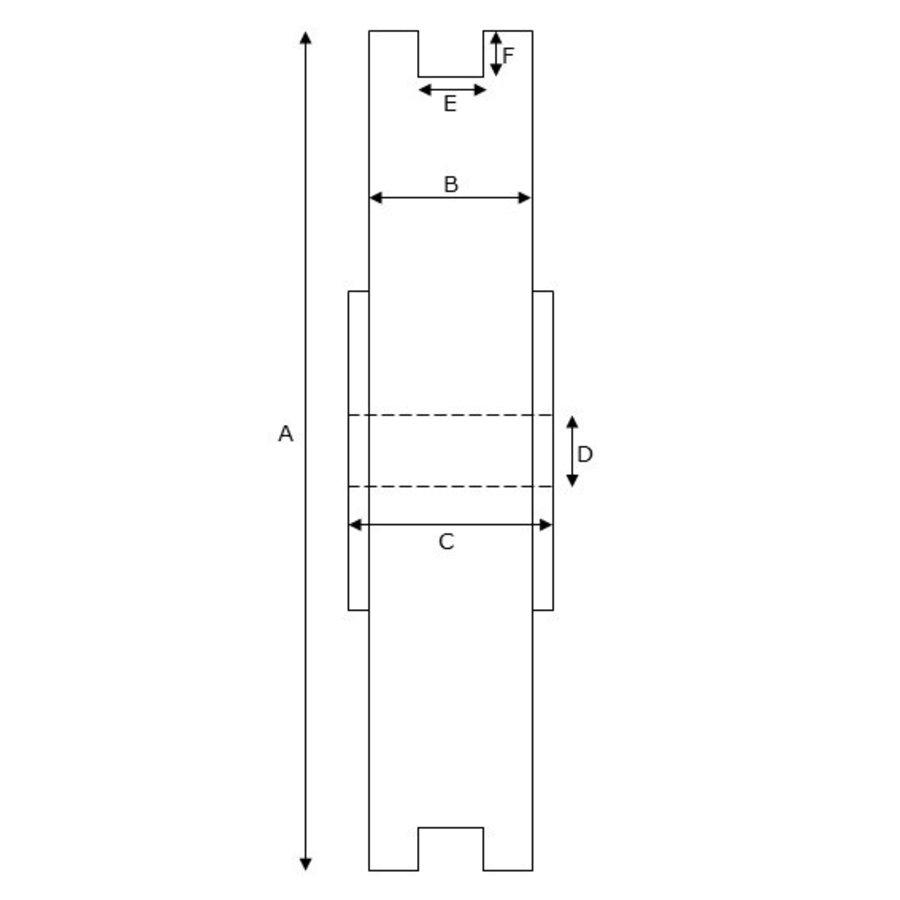 Groefwiel 90mm naaflengte 25mm kogellager