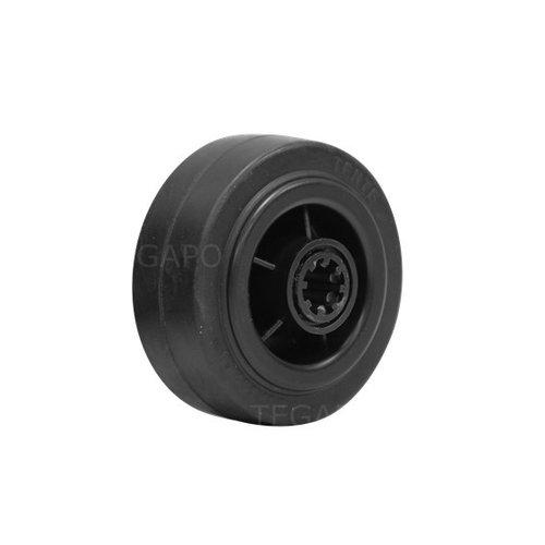 Rubber wiel 80mm 3KO rollager asgat 12mm