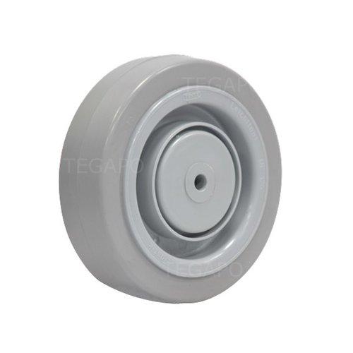 Elastisch rubber wiel 125mm 3KO kogellager asgat 8mm