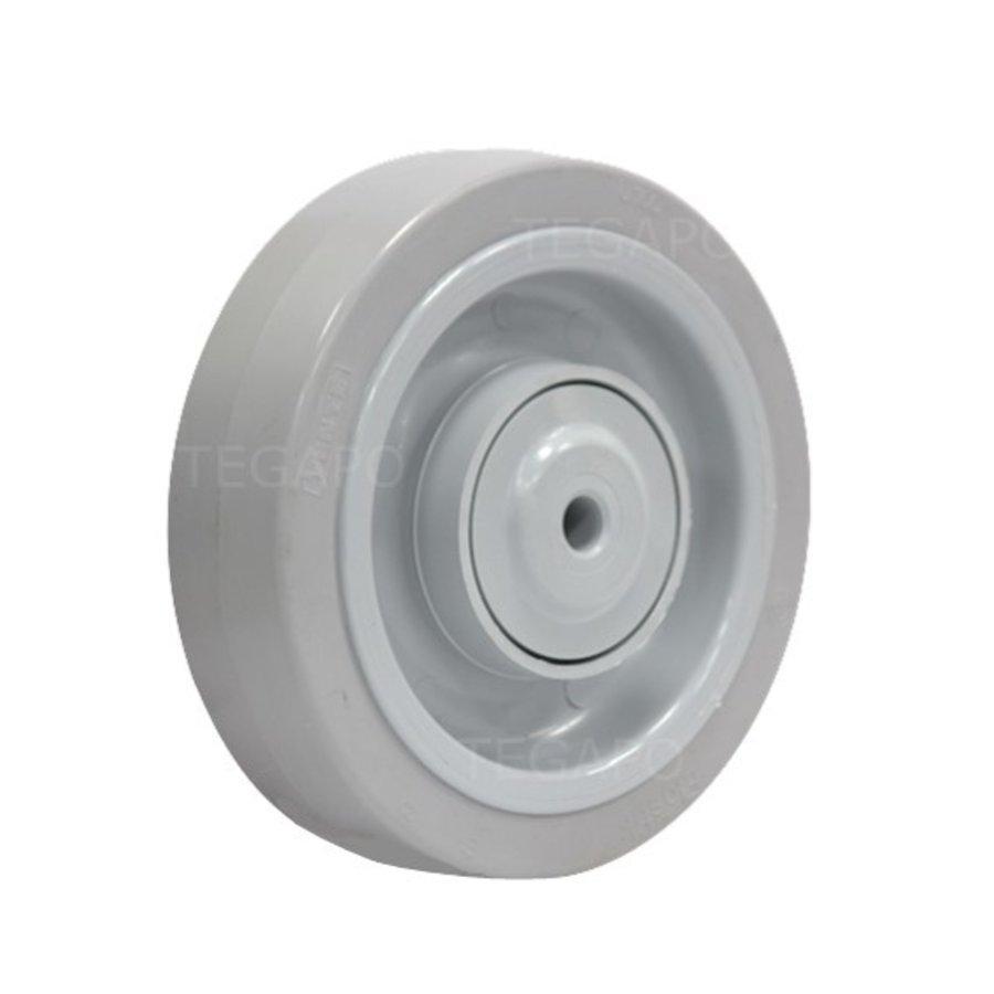 Elastisch rubber wiel 160mm 3KO kogellager asgat 12mm