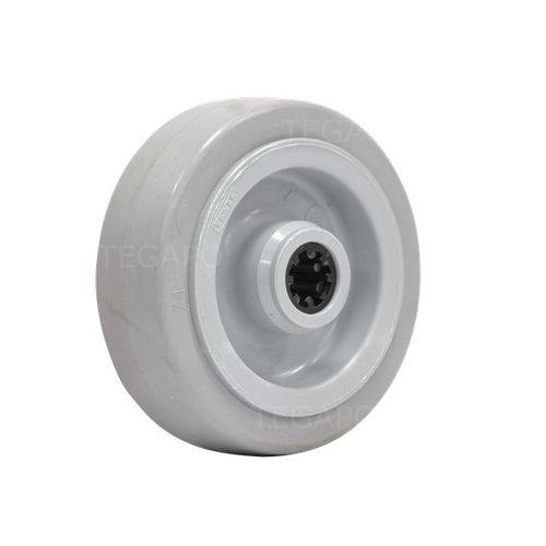 Elastisch rubber wiel 100mm 3KO rollager asgat 12mm
