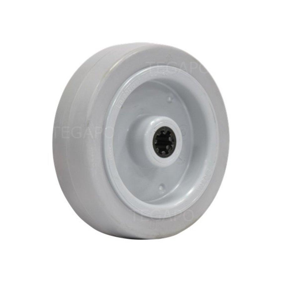 Elastisch rubber wiel 125mm 3KO rollager asgat 12mm