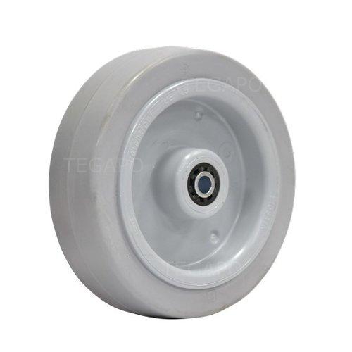 Elastisch rubber wiel 125mm 3KO rollager asgat 8mm