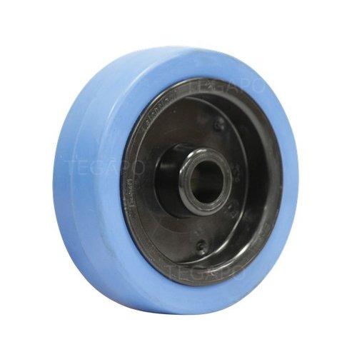 Elastisch rubber wiel blauw 125mm 3KO asgat 20mm
