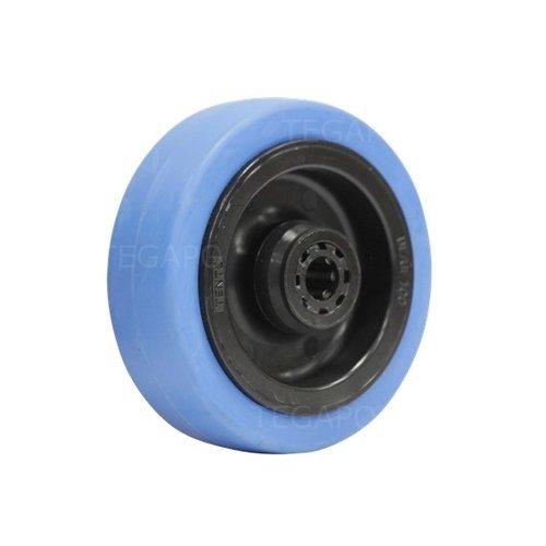 Elastisch rubber wiel blauw 100mm 3KO rollager asgat 12mm