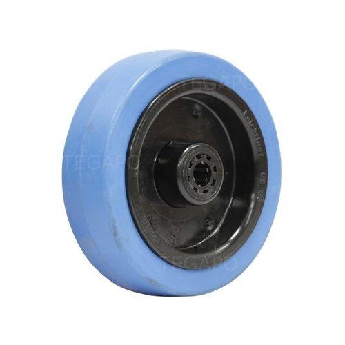 Elastisch rubber wiel blauw 125mm 3KO rollager asgat 12mm
