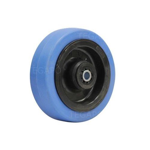 Elastisch rubber wiel blauw 100mm 3KO rollager asgat 8mm