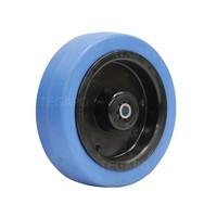 Elastisch rubber wiel blauw 125mm 3KO rollager asgat 8mm