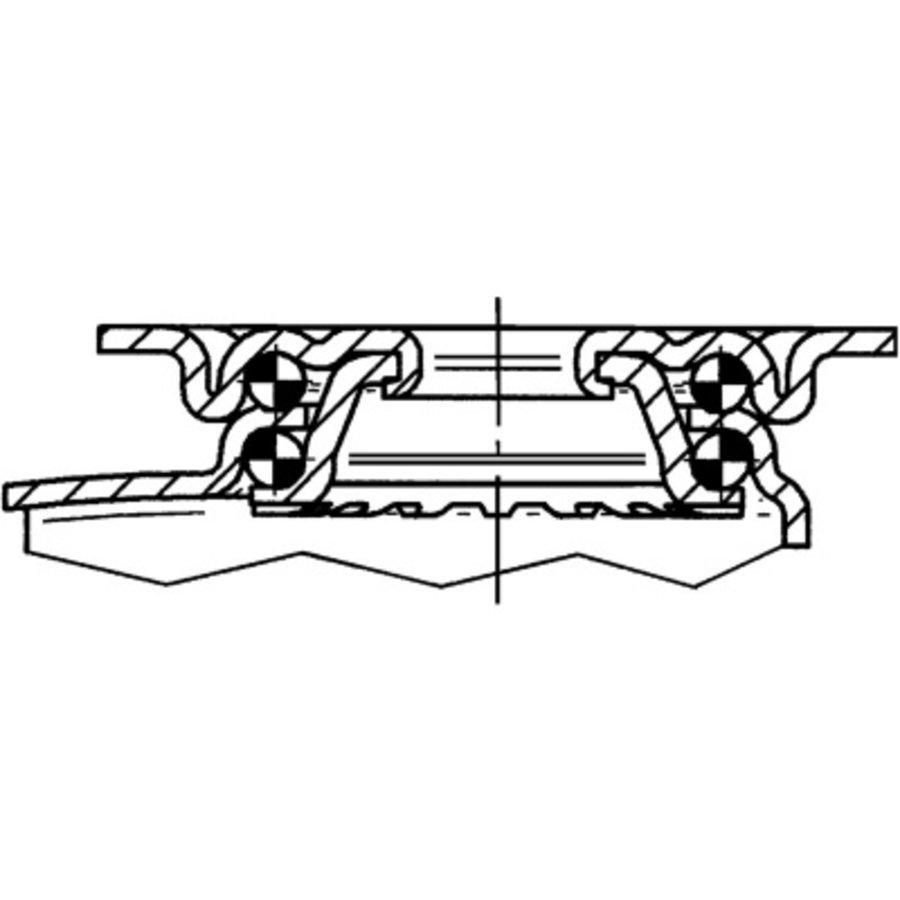 Zwenkwiel 125 verzinkt 2TP plaat met rem