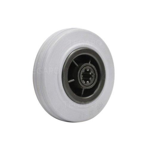 Rubber indoor wiel 100mm 3KO rollager asgat 12mm