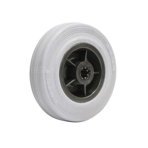 Rubber indoor wiel 125mm 3KO rollager asgat 12mm