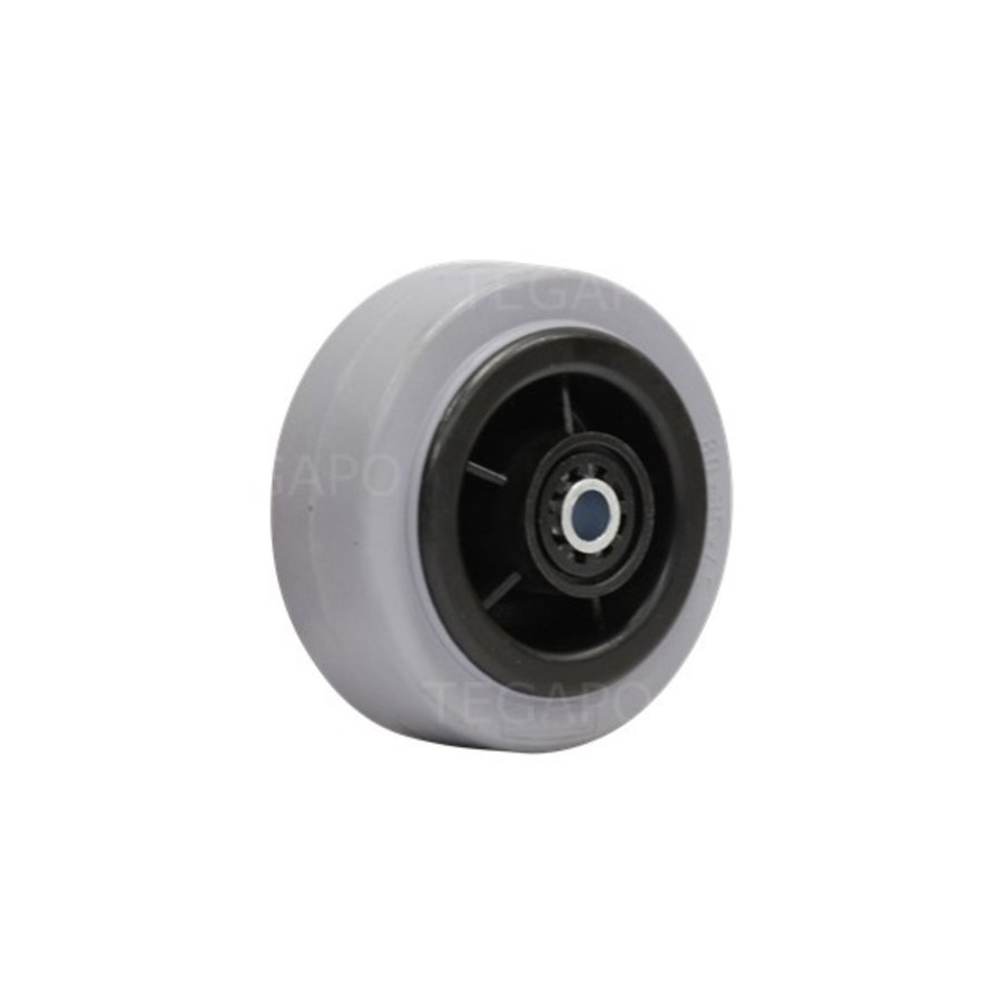 Rubber indoor wiel 80mm 3KO rollager asgat 8mm