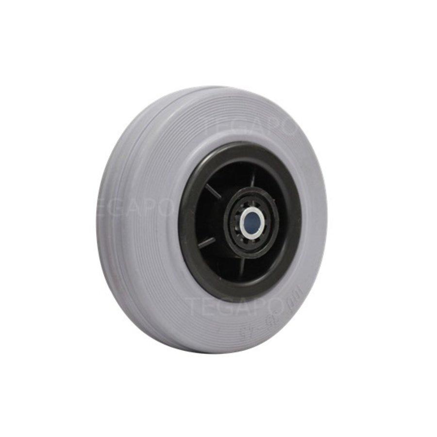 Rubber indoor wiel 100mm 3KO rollager asgat 8mm