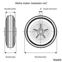 Elastisch rubber wiel 200mm 3KO rollager asgat 20mm