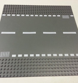 LEGO 44336 Wegplaat RECHT, Antraciet, 32x32,gebruikt