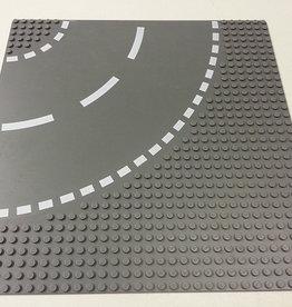 LEGO 44342 Wegplaat BOCHT, Antraciet, 32x32, gebruikt