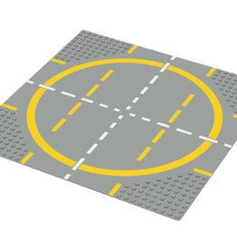 LEGO 6099 Wegplaat LANDINGSPAD-GELE CIRKEL, lichtgrijs,32x32,gebruikt