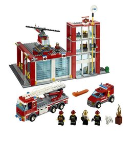 LEGO 60004 Brandweer kazerne + 2 auto's + helicopter CITY