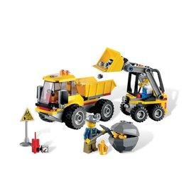 LEGO 4201 Mijnwerkers kiepwagen + Graafmachine geel CITY