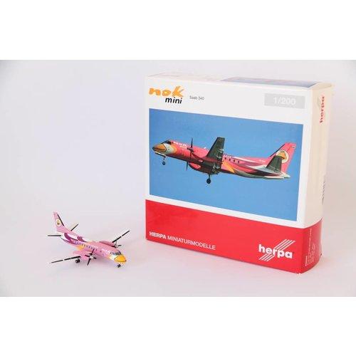"""Herpa 1:200 NOK air """"Pink"""" Saab 340"""