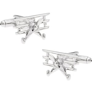 Diecast Trading Cufflinks Silver Propeller Plane