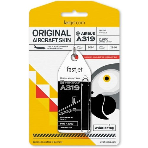 Aviationtag Aviationtag - Airbus A319 – 5H-FJF - Fastjet (black - white)