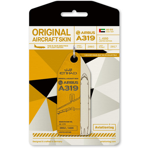 Aviationtag Aviationtag - Airbus A319 – A6-EID - Etihad Airways (gold - white)