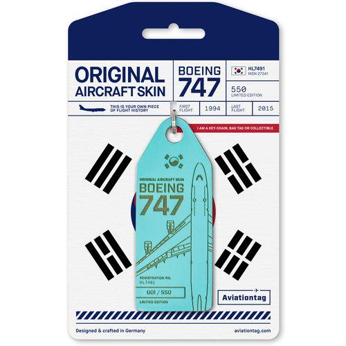 Aviationtag Aviationtag - Boeing 747 - HL7491 - Korean (light blue)
