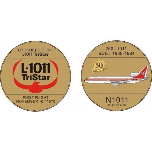 Inflight 1:200 House Color Lockheed Corporation L1011 WITH STAND AND 50TH ANNIVERSARY COIN