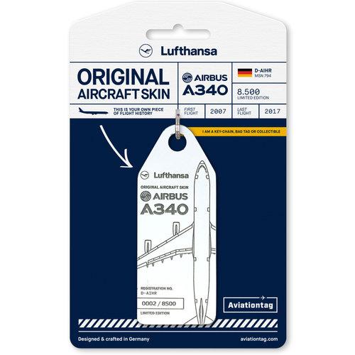 Aviationtag Aviationtag - Airbus A340 - D-AIHR - Lufthansa (white)