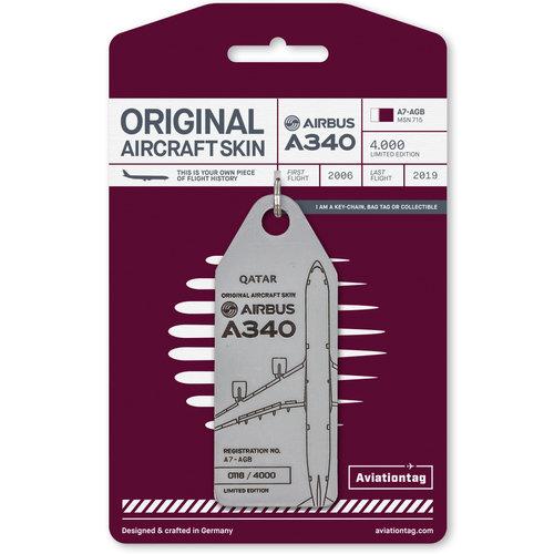 Aviationtag Aviationtag - Airbus A340 - A7-AGB - Qatar (grey)