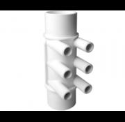 """waterway 2"""" M/M manifold, 6 poorten 3/4"""" smooth barb"""