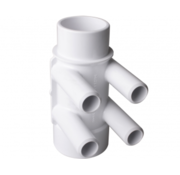 "waterway 1 1/2"" M/F manifold, 3/4"" M barb or 3/8"" F, 4 poorten"