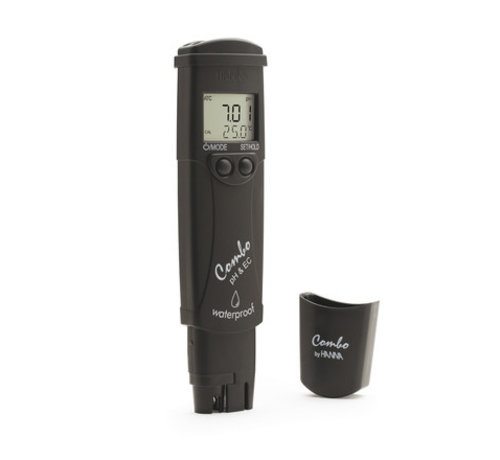 HANNAinstruments Waterbestendige zakformaat pH/EC/TDS/temp.-tester, 0-14 pH, EC: 0.00 - 20.00 mS/cm
