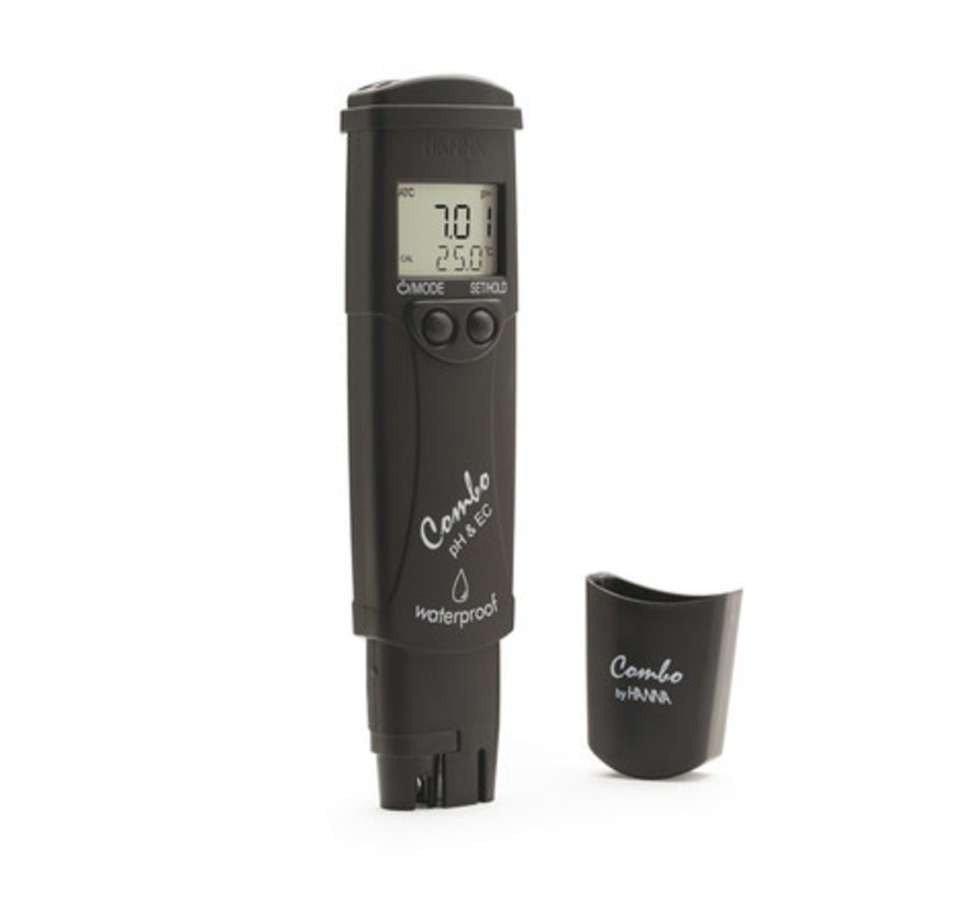 Waterbestendige zakformaat pH/EC/TDS/temp.-tester, 0-14 pH, EC: 0.00 - 20.00 mS/cm
