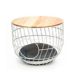 51 DEGREES NORTH Wire Cat Table + Cushion -  Ø50 White