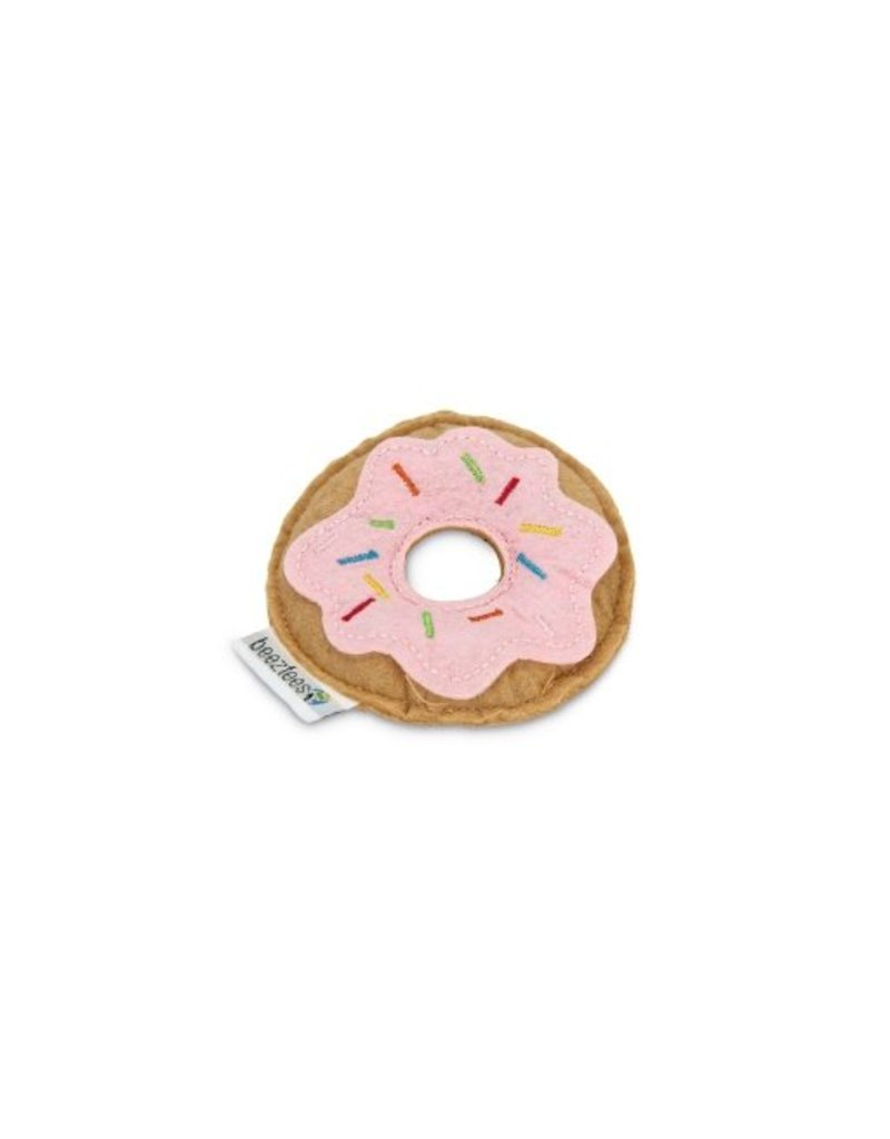 TEXTILE CAT TOY DONUT PINK